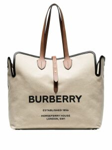 Burberry large logo print canvas tote - Neutrals