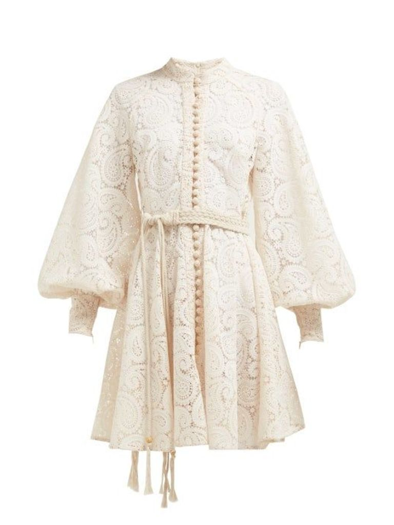 Zimmermann - Amari Paisley Crochet Mini Dress - Womens - Cream