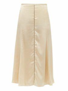 Albus Lumen - Aziza Bias Cut Silk Charmeuse Midi Skirt - Womens - Beige