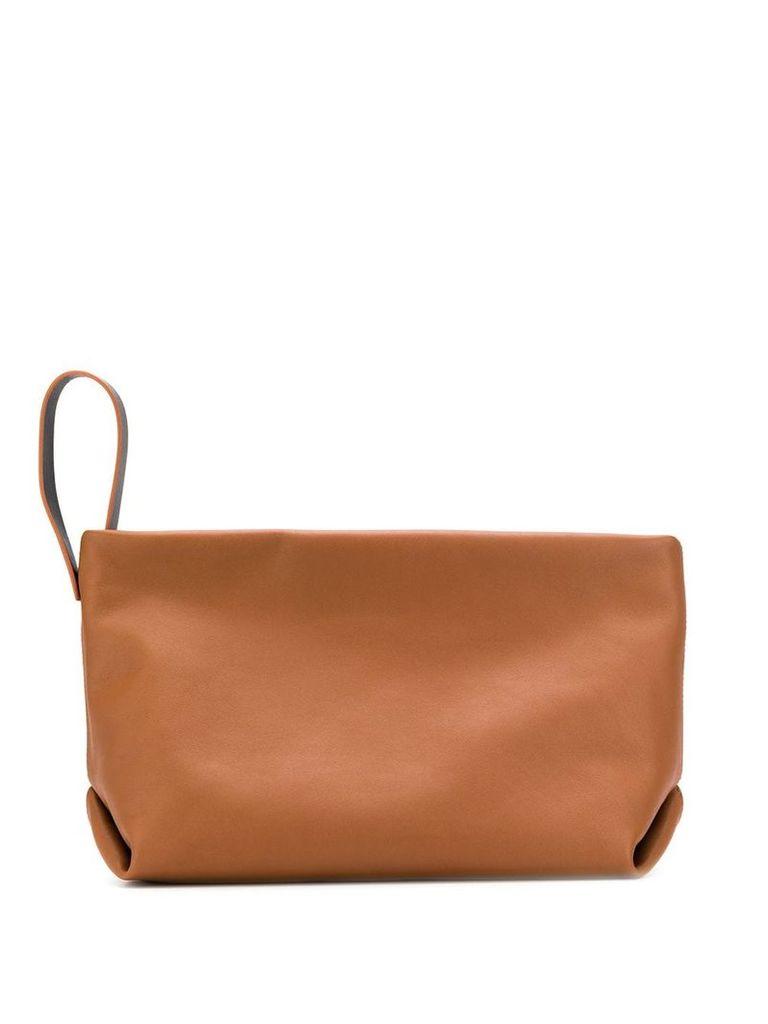 Loro Piana zip up clutch bag - Brown
