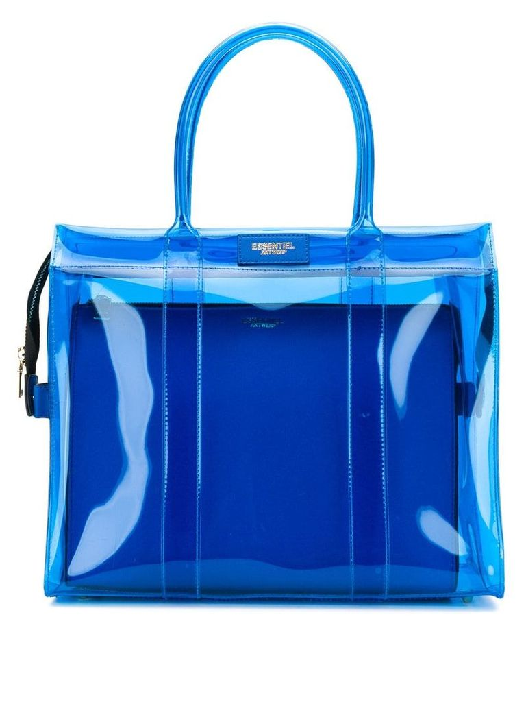 Essentiel Antwerp Solomon transparent tote bag - Blue