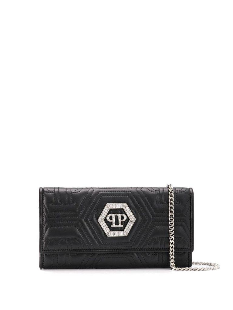 Philipp Plein crystal clutch bag - Black