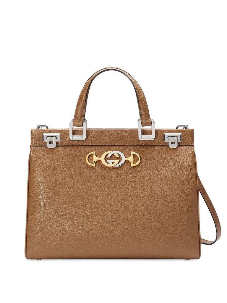 Gucci Gucci Zumi grainy leather medium top handle bag - Brown