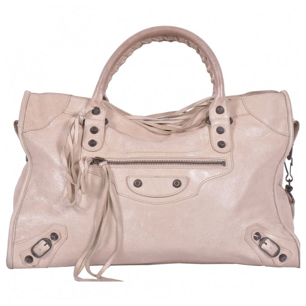 City leather handbag