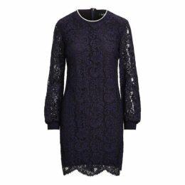 Stripe-Trim Lace Dress
