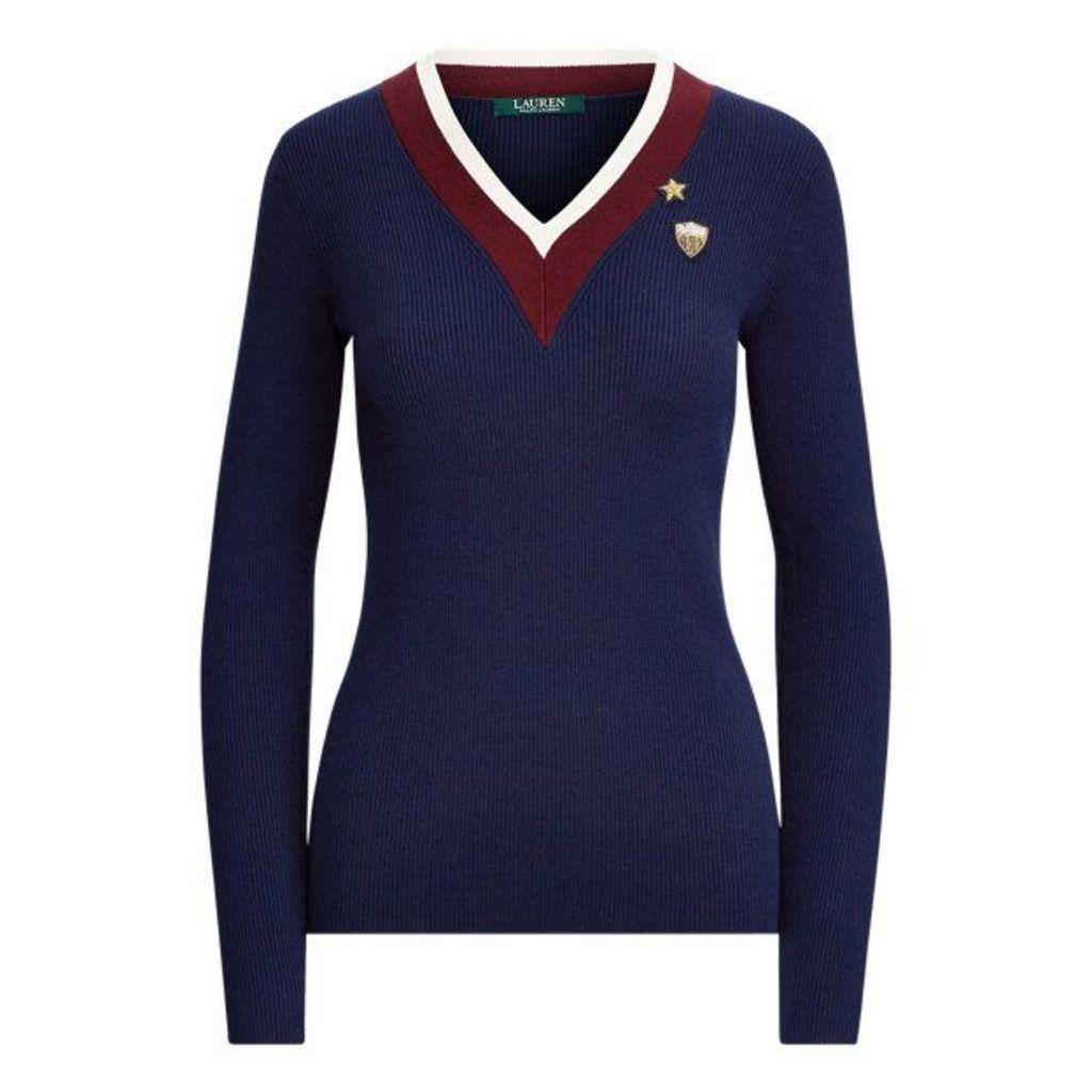 Stripe-Trim Patch Sweater