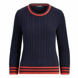 Stripe-Trim Cable-Knit Sweater