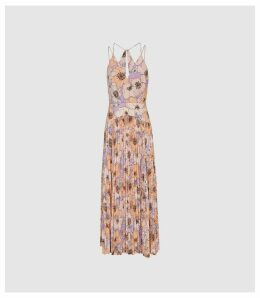 Reiss Corinne - Floral Printed Midi Dress in Pink, Womens, Size 16