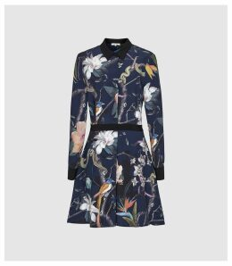 Reiss Gilda - Rainforest Printed Shirt Dress in Navy, Womens, Size 16