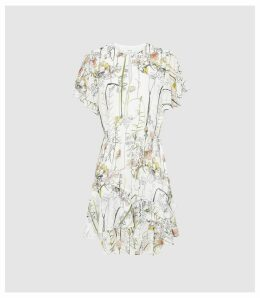 Reiss Juno - Floral Printed Mini Dress in White, Womens, Size 16