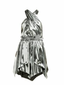 Isabel Marant - Kary Metallic Silk Blend Mini Dress - Womens - Silver