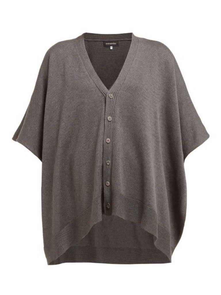 Eskandar - Oversized Raw Silk Tabard Cardigan - Womens - Dark Grey