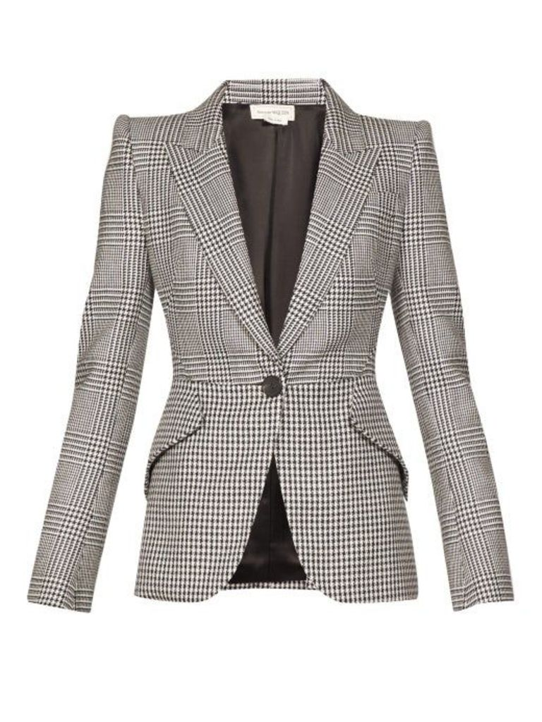 Alexander Mcqueen - Single Breasted Prince Of Wales Checked Blazer - Womens - Black White