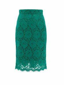 Dolce & Gabbana - Floral Cotton Blend Guipure Lace Skirt - Womens - Green