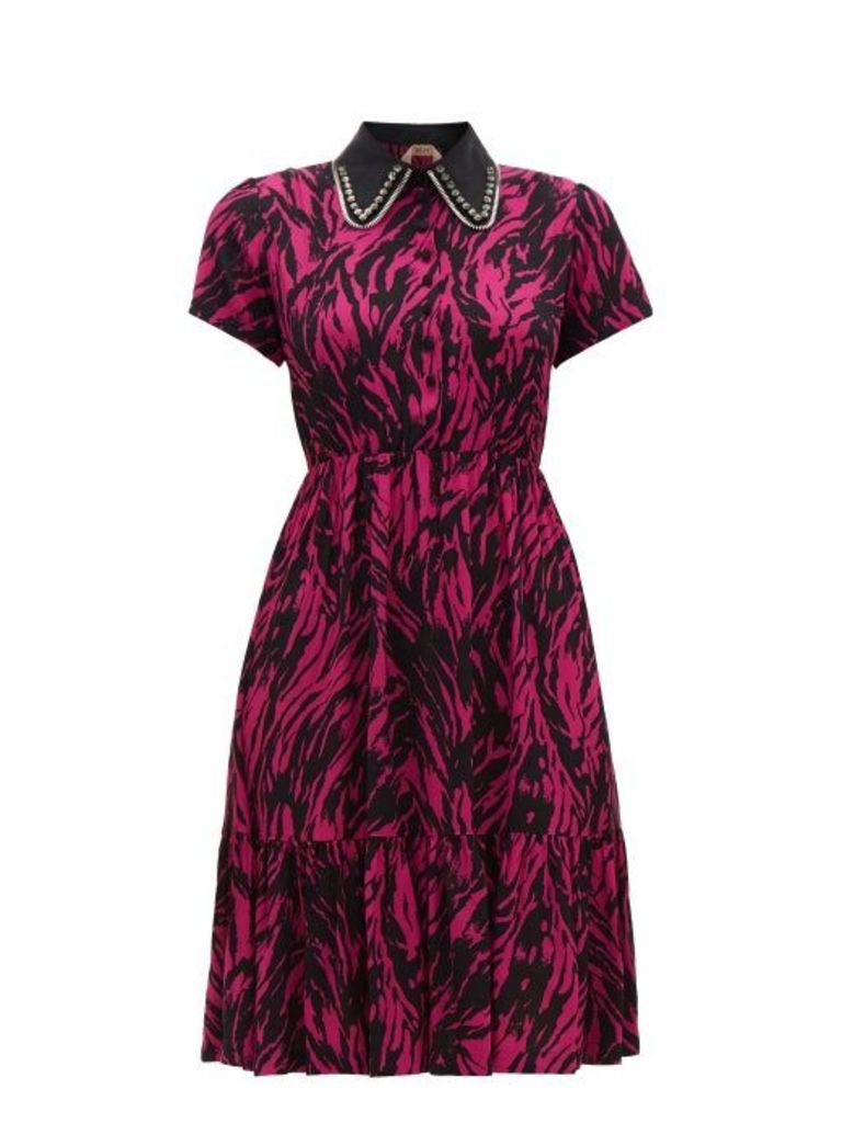 No. 21 - Embellished Collar Zebra Print Dress - Womens - Fuchsia