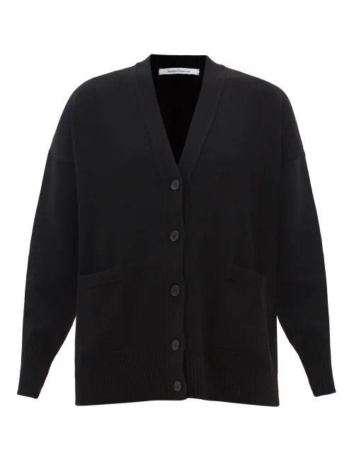 Valentino - Ruffled Cuff Single Breasted Wool Blend Coat - Womens - Black