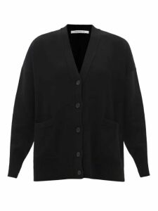 Valentino - Ruffled Cuff Single Breasted Wool Blend Coat - Womens - Black
