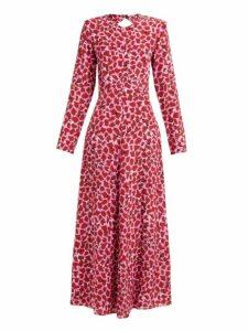 Raey - Tie Back Lipstick Print Silk Dress - Womens - Pink Print