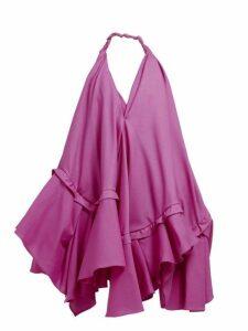 Jacquemus - Rosa Asymmetric Ruffle Poplin Mini Dress - Womens - Pink