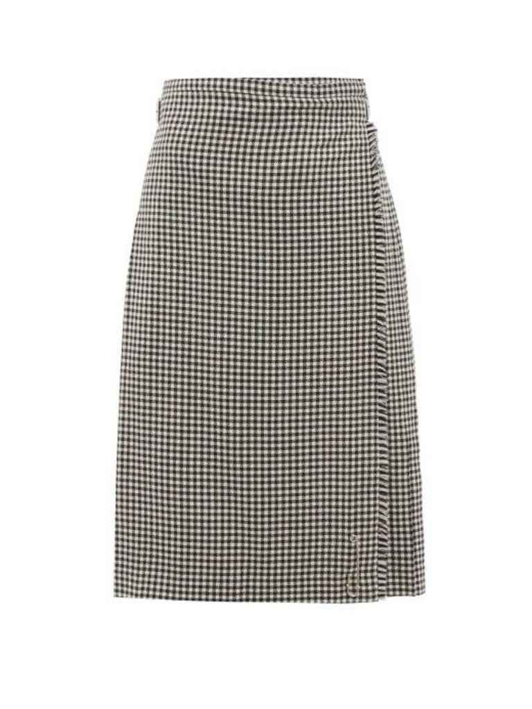 Le Kilt - Menzies 65cm Pleated Houndstooth Wool Skirt - Womens - Grey Print