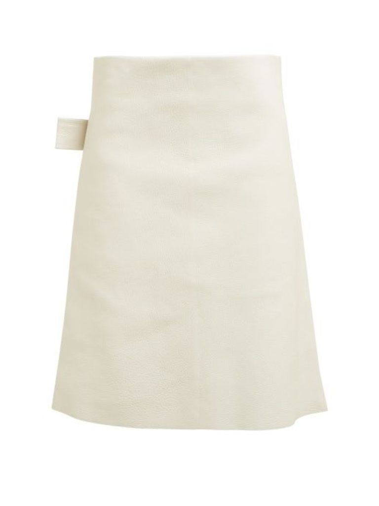 Bottega Veneta - Leather Pencil Skirt - Womens - Ivory