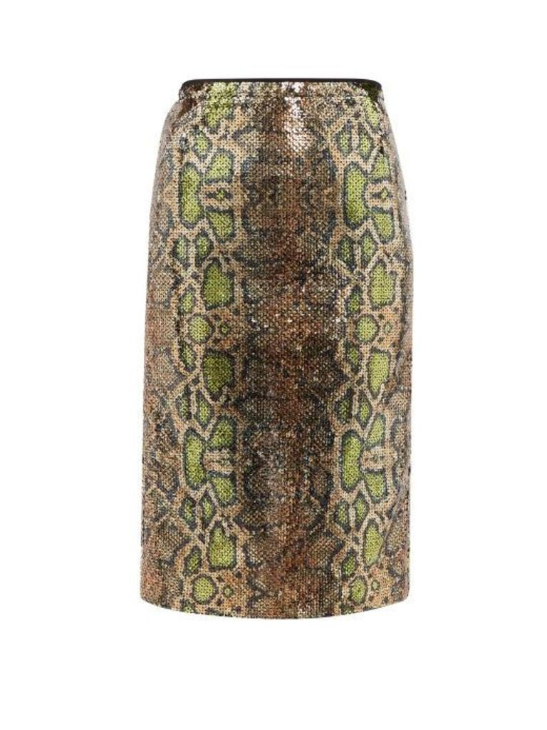 No. 21 - Fantasia Sequinned Snake Pattern Pencil Skirt - Womens - Multi