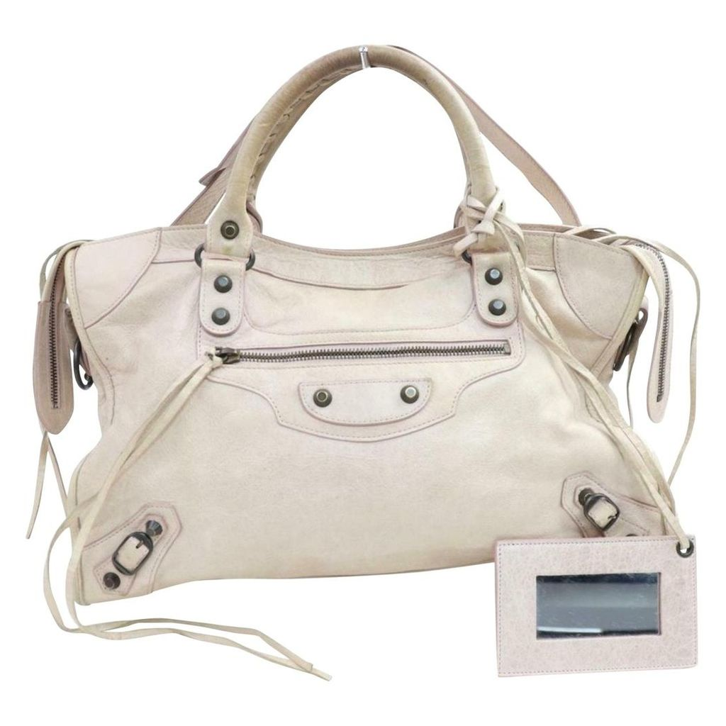 City leather satchel