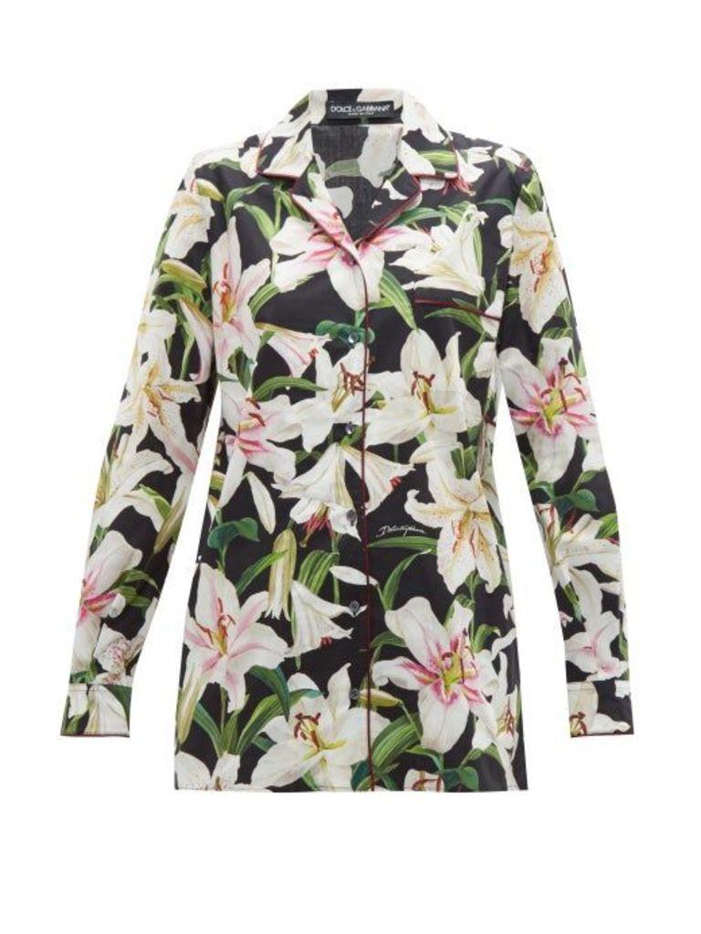 Dolce & Gabbana - Lily Print Cotton Poplin Pyjama Shirt - Womens - Black Print