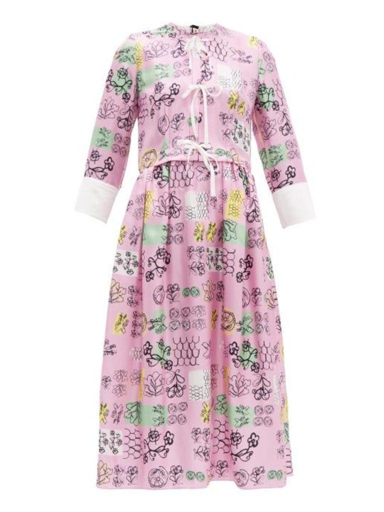Marni - Tie Front Doodle Print Silk Midi Dress - Womens - Pink Multi