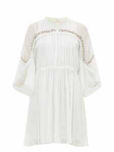 Chloé - Embellished Plissé Silk Chiffon Mini Dress - Womens - Ivory