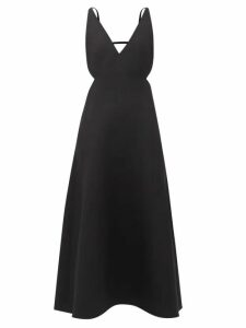 Valentino - High Neck Silk Crepe Gown - Womens - Red