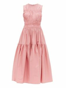 Roksanda - Isilda Ruched Cotton Poplin Midi Dress - Womens - Pink