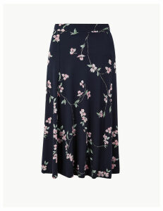 M&S Collection Floral Print Jersey Fit & Flare Midi Skirt