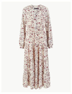 M&S Collection Floral Print Waisted Maxi Dress
