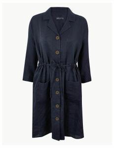 M&S Collection Pure Linen 3/4 Sleeve Shirt Dress