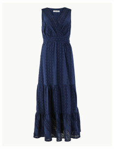 Per Una Pure Cotton Embroidered Waisted Maxi Dress