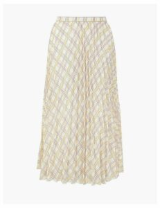Autograph Checked Pleated Midi Skirt