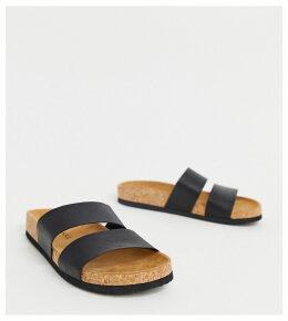 Monki double strap sandal in black