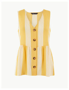 M&S Collection Striped Button Detailed Blouse