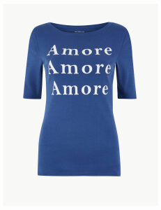 M&S Collection Pure Cotton Amore Regular Fit T-Shirt