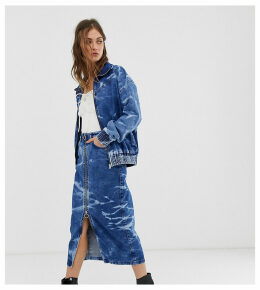 See You Never acid wash zip through midi skirt