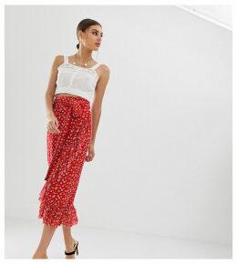 Na-kd mesh flower print wrap skirt in red