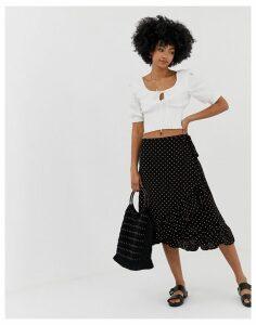 Resume Charly polka dot wrap midi skirt
