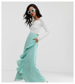 Na-kd midaxi frill skirt in ice blue