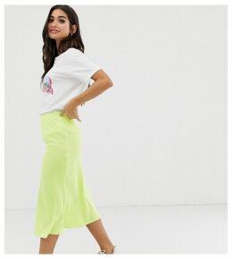 River Island Petite bias cut midi skirt in lime