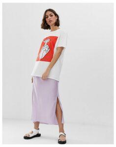 ASOS DESIGN bias cut satin midi skirt with splits