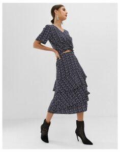 Na-kd co-ord flower print midi frill skirt in navy