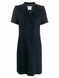 Yves Saint Laurent Pre-Owned lace-up neck shortsleeved dress - Blue