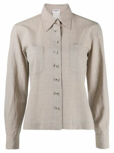 CHANEL PRE-OWNED 1990 cutaway collar shirt - Green