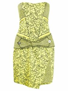 Versace Pre-Owned Barocco print strapless dress - Yellow